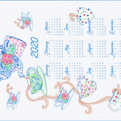 Tumbling Tea Time 2020 tea towel calendar