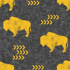 distressed buffalo on dark grey linen - gold C18BS