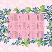 Calandar 2020 Blue Crocus Pink and Pale Pink