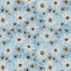 """Rustic Almond Sunflowers & bronze daisies (dusty blue) 12"""""""