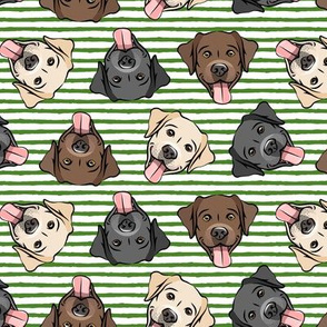 all the labs - cute happy labrador retriever dog breed - green stripes - LAD19