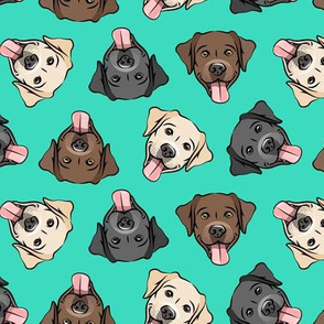 all the labs - cute happy labrador retriever dog breed - teal - LAD19