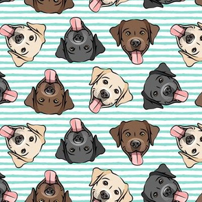 all the labs - cute happy labrador retriever dog breed - teal stripes - LAD19