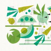 Papercut Veggies Green Calendar 2020 tea towel