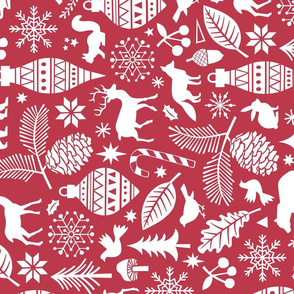 Woodland Forest Christmas Doodle with Deer,Bear,Snowflakes,Trees, Pinecone in Darker Red Larger 7 inch Rotated