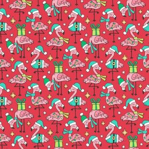 Christmas Holidays Flamingos On Red Smaller Tiny 1,5 inch
