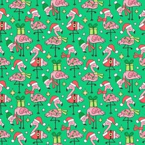 Christmas Holidays Flamingos on Green Smaller Tiny 1,5 inch
