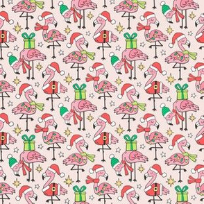 Christmas Holidays Flamingos Pink Smaller Tiny 1,5 inch