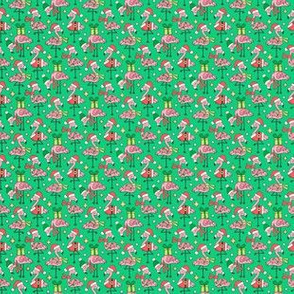 Christmas Holidays Flamingos on Green Tiny Small 0,75 inch