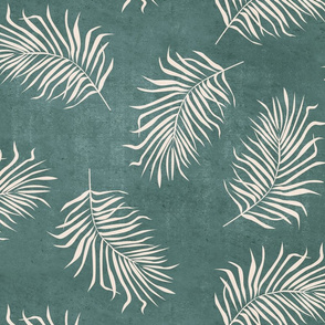 Palm fronds Bone on teal