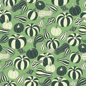 pumpkins and squash mono green