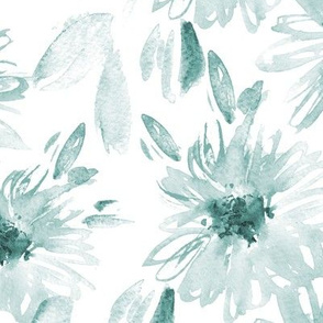Bloom in paradise • teal watercolor flowers