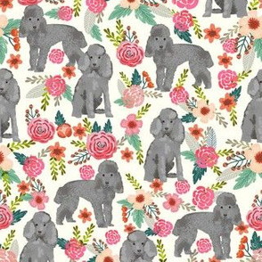 toy poodle florals fabric - grey poodle fabric, grey toy poodle design - cream