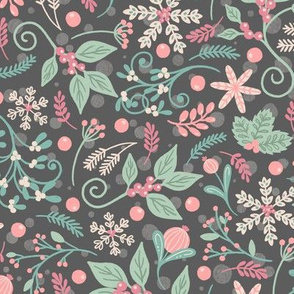 Whimsical Winter Flora on Grey