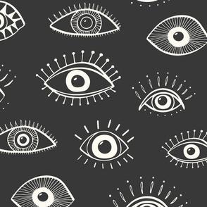 evil eye - charcoal ( jumbo scale)