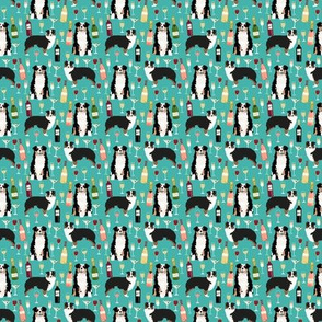 TINY - australian shepherd dog fabric dogs and wine design - tricolored aussie dog - turquoise - smaller version