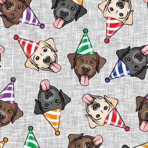 party labs - cute happy labrador retriever birthday dog breed - (multi hats) grey - LAD19