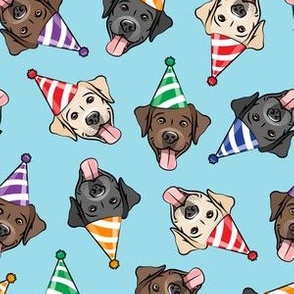party labs - cute happy labrador retriever birthday dog breed - (multi hats) blue - LAD19