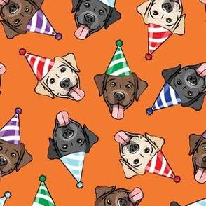 party labs - cute happy labrador retriever birthday dog breed - (multi hats) orange - LAD19