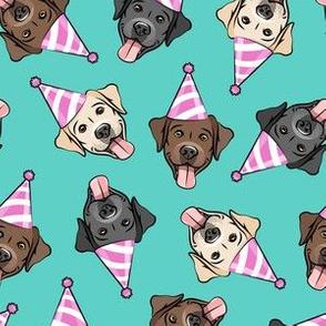 party labs - cute happy labrador retriever birthday dog breed - teal - LAD19