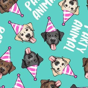 party labs - party animals - cute happy labrador retriever birthday dog breed - teal - LAD19