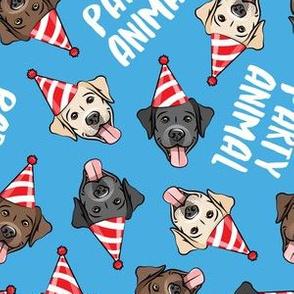 party labs - party animals - cute happy labrador retriever birthday dog breed - blue - LAD19