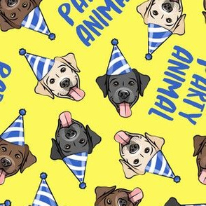 party labs - party animals - cute happy labrador retriever birthday dog breed - yellow - LAD19