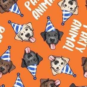 party labs - party animals - cute happy labrador retriever birthday dog breed - orange - LAD19