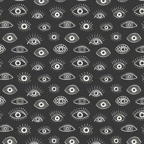 evil eye - charcoal (medium scale)