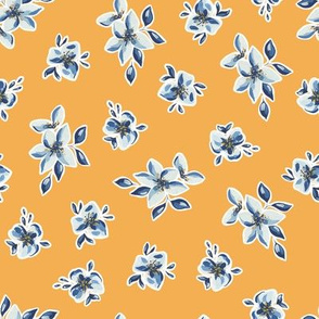 Blue and Ocher Flowers / Arles Collection