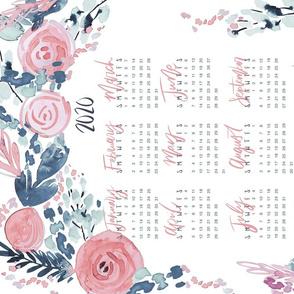 soft, watercolor floral 2020 tea towel calendar