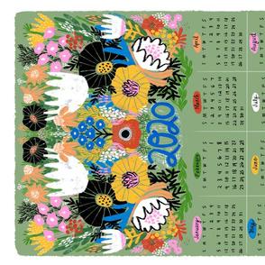 Floral Tea Towel Calendar 2020