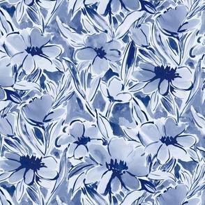 Painterly watercolor floral dark blue indigo small scale