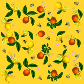 Summer,citrus,bright pattern.Oranges,lemons and bees decor