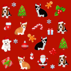 Christmas puppies pattern decor