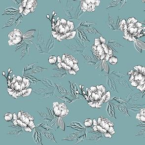 Peonyflowers patternon a blue background