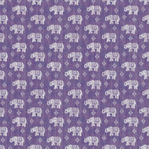 Sharavathi Elephants - Amethyst - Smaller Scale