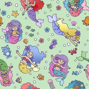 mermaids on green