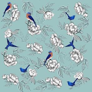 Bluebird,peonies pattern decor