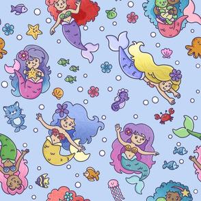 mermaids on blue