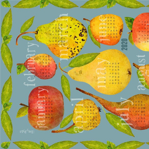 2020 Holiday Apple and Pear Calendar (light blue)