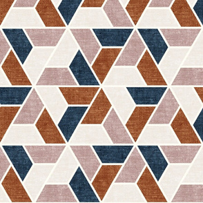triangle geo - focus collection - multi blue and ginger - LAD19