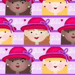 The Girlfriend Club / Red Lavender Purple - Girls/Ladies in Hats with Bows