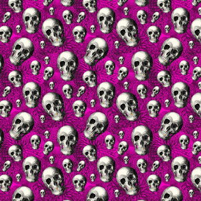 Gold Teeth Skulls With Pink Floral Background