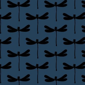 Minimal dragonfly abstract insects animal design trend fall winter night navy blue