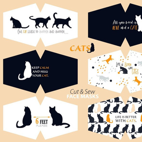 Cat Face Masks - Black cat silhouettes and cat messages