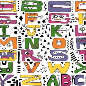 super silly abc alphabet letters, large scale, purple green yellow orange pink black white