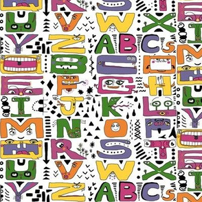 super silly abc alphabet letters, small scale, purple green yellow orange pink black white