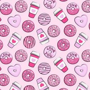 "(1"" scale) donuts and coffee - valentines day - pink on pink C19BS"