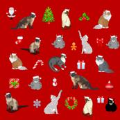 Christmas cats pattern